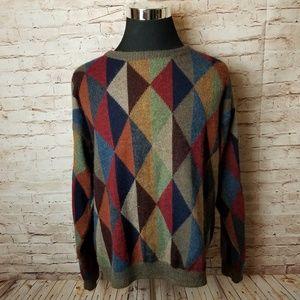 VTG 90s Norm Thompson Alpaca Sweater Diamond